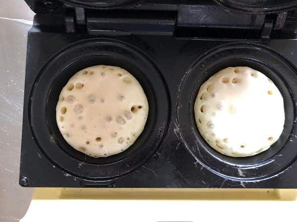 two crumpets made in a pie maker