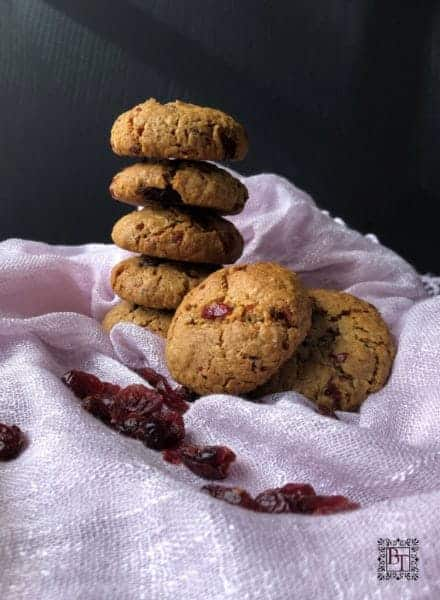 A pile of Cranberry Vanilla Golden Syrup Oat Cookies