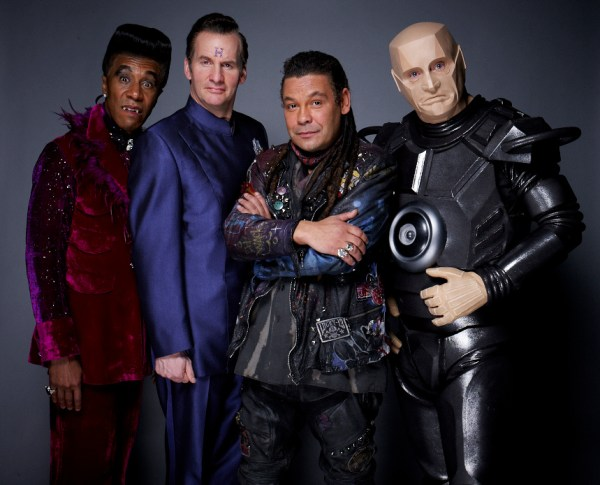 Red Dwarf 2012 - Picture shows (L-R) Danny John-Jules as The Cat, Chris Barrie as Arnold Rimmer, Craig Charles as Dave Lister and Robert Llewellyn as Kryten copyright - © Joel Anderson Photography 2012