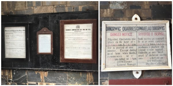 Historical signs at the Welsh Slate Museum