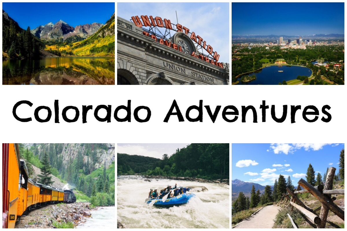 Colorado Adventures header image with 6 photos of Colorado including mountains, rivers, Union Station, Denver, railway, rafters and hiking