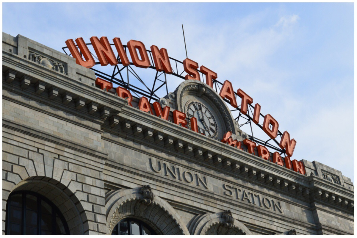 The updated Union Station in Denver - photo shows the old and new signage