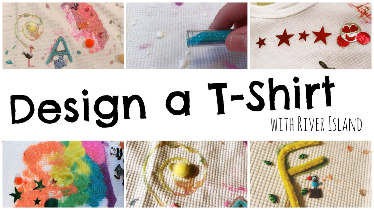 Header image for the design a t-shirt competition with river island with two t-shirts crafted by my girls.