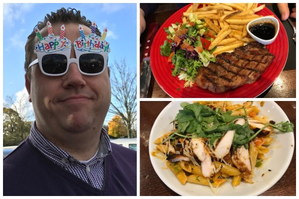 Photo of my husband wearing silly birthday glasses and a photo of the lovely food we had in TGIF