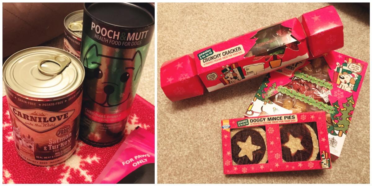 Goodboy dog treats and dog food including a dog safe Christmas cracker