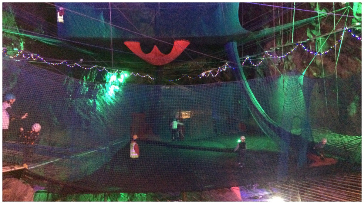 Bounce Below - a blurry photo of the underground trampolines in Blaenau Ffestiniog