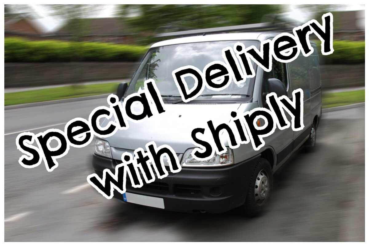 "Header image with ""special delivery with Shiply"" written in bold writing over a photo of a grey transit van"
