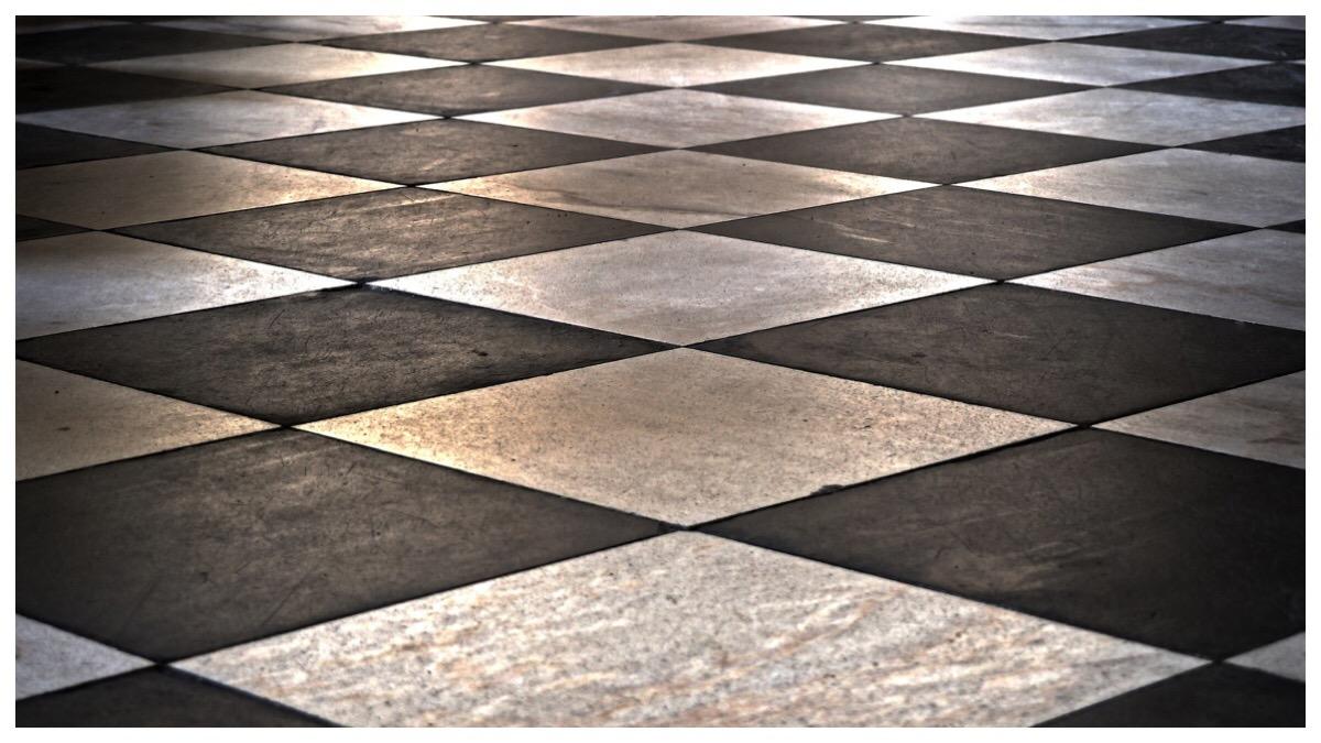 Black and white tiled kitchen floor