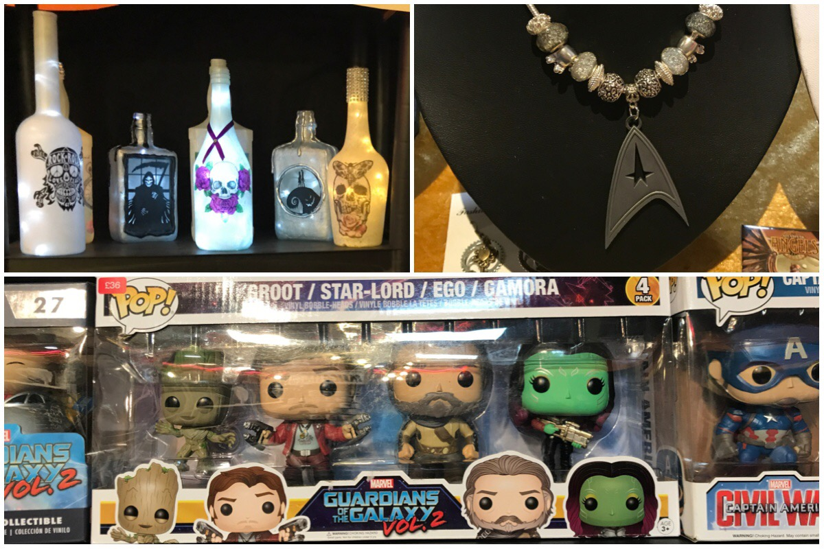 Triple photo of light bottles, Star Trek necklace and Guardians of the Galazy Pop Vinyls on sale at Sci Fi Weekender