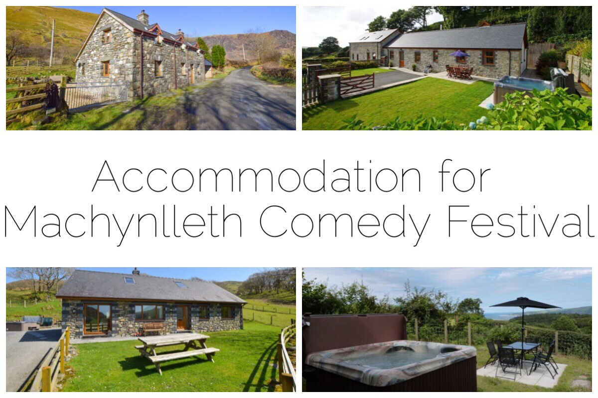 four different images of holiday cottages near Machynlleth
