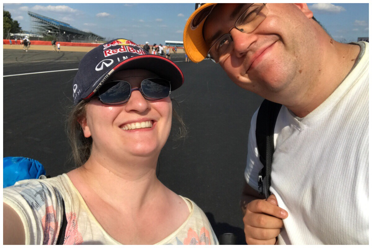 Me and the husband stood at the first corner post race after a really fun time at the British GP 2018