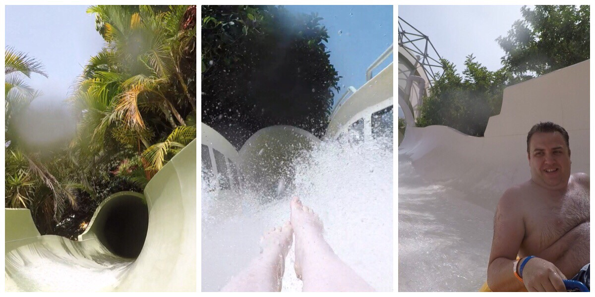 Three images of the waterslides at Siam Park