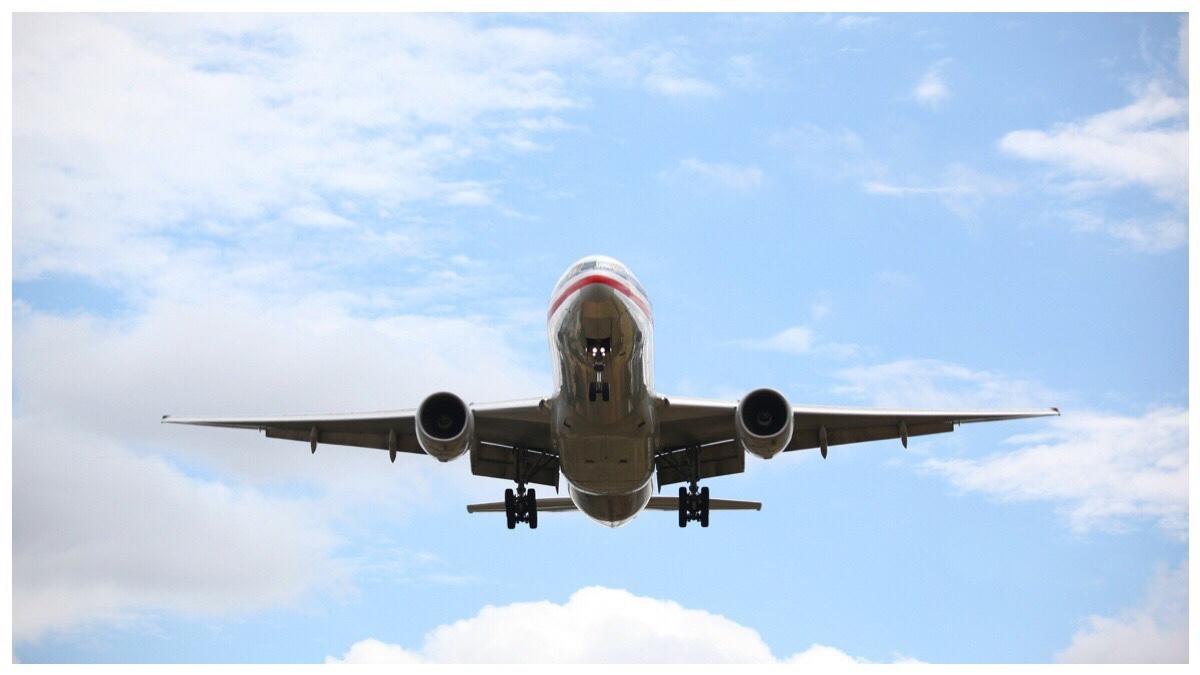 Airplane mid flight against a blue sky