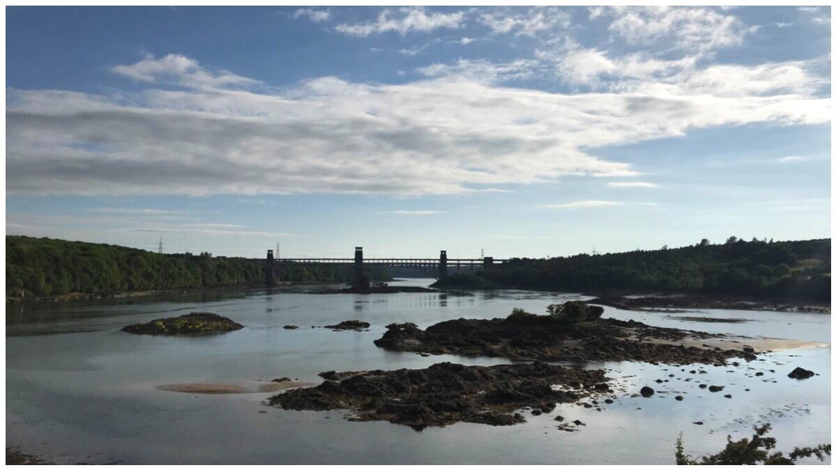 The view of Britiannia Bridge and the Menai Strait