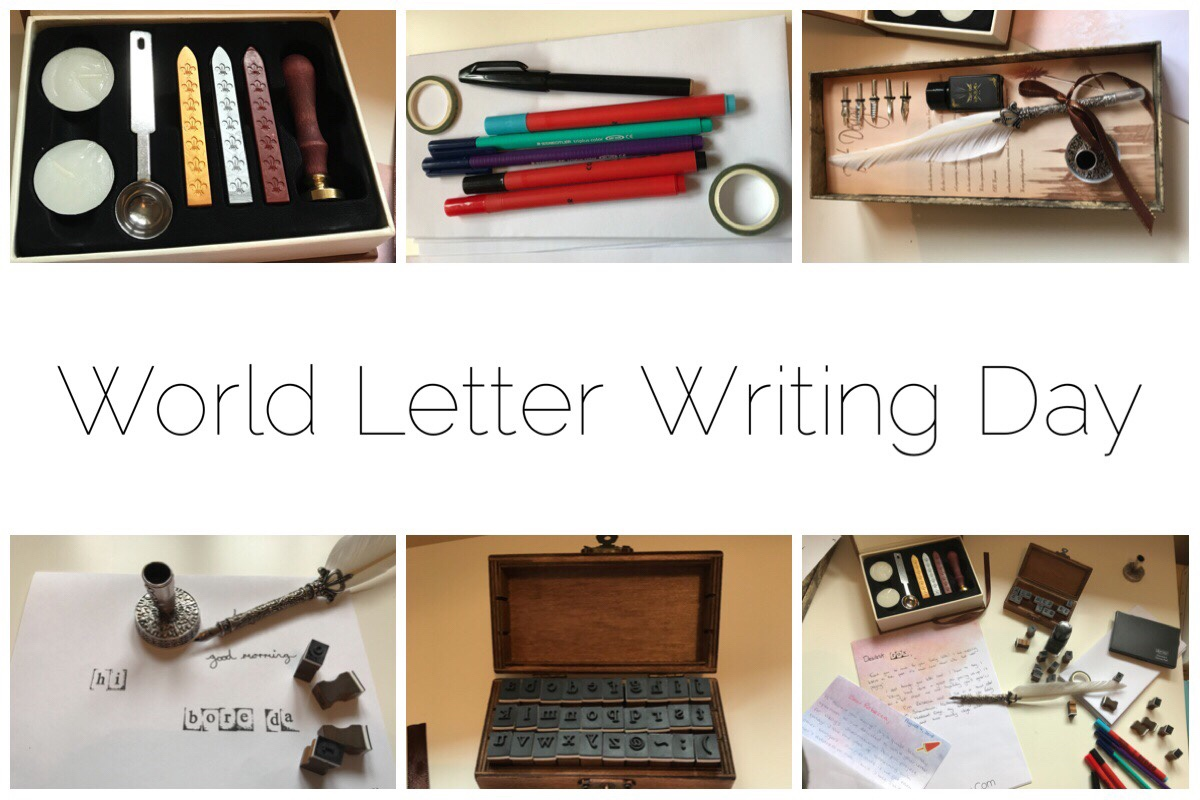 World Letter Writing Day header with six different mini images