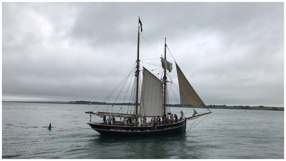 A tallship taking to the seas during the Caernarfon Pirate Weekend