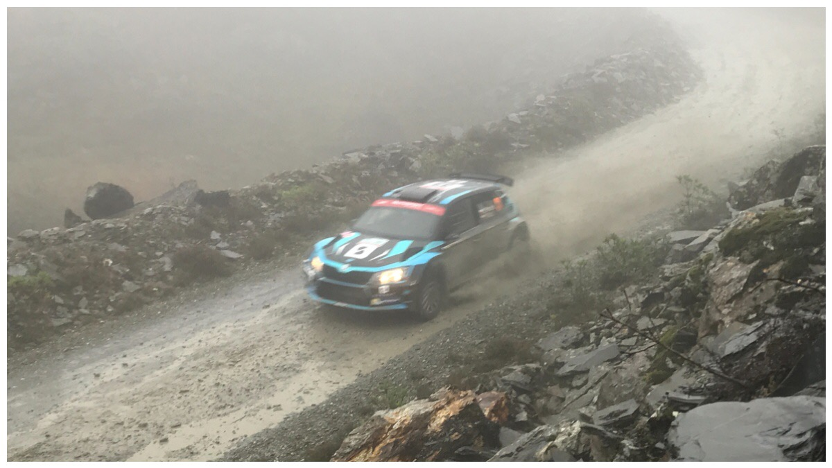 One of the WRC cars zooming along the final stretch of Slate Mountain stage of Wales Rally GB