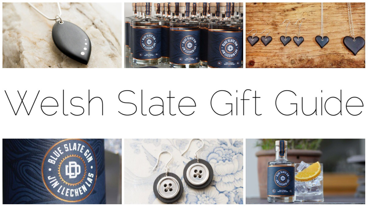 Welsh Slate Gift Guide - thumbnails of the Blue Slate gin bottles, Welsh slate jewellery