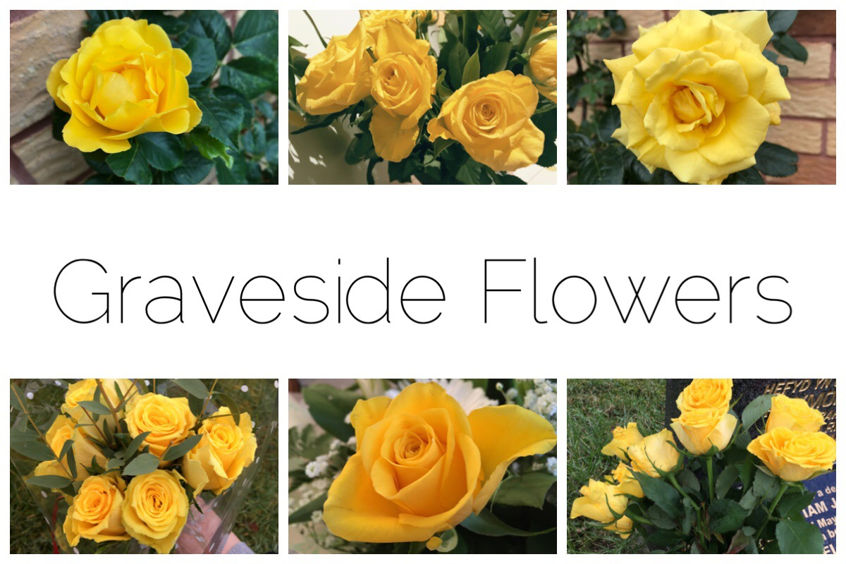 Graveside Flowers - six different photos of yellow roses