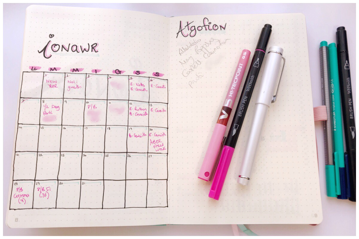 My bullet journal open on January's monthly calendar and memories page together with my pink pens