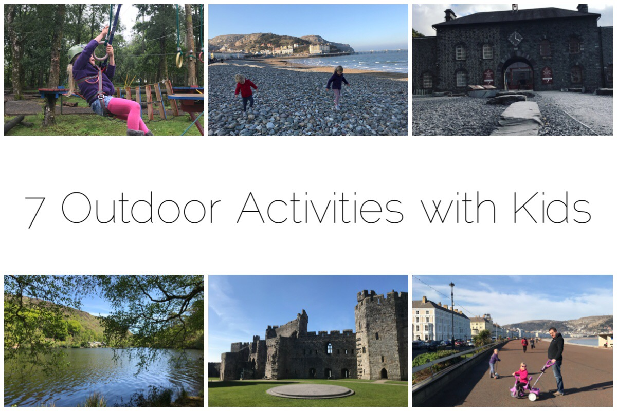 Photos of outdoor activities with kids including hanging on ropeswings, beachcombing, National Slate Museum, Scootering on Llandudno prom, Caernarfon Castle and Llyn Mair