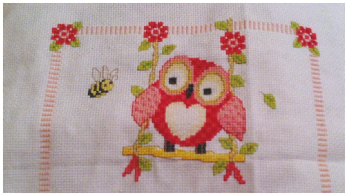 Pink owl cross stitch