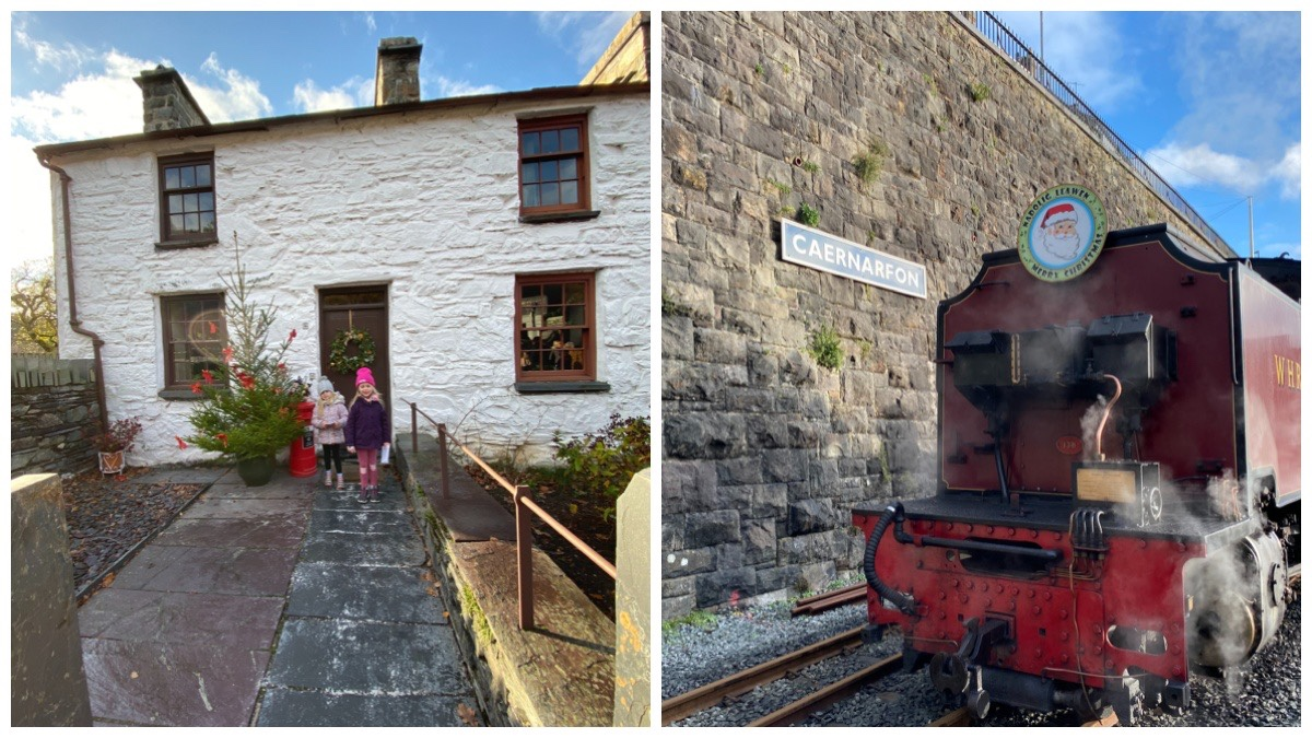 Left - a photo of my girls stood in front of the Quarrymen Cottages at the National Slate Museum in Llanberis / Right - the Welsh Highland Railway Santa Train at Caernarfon Station