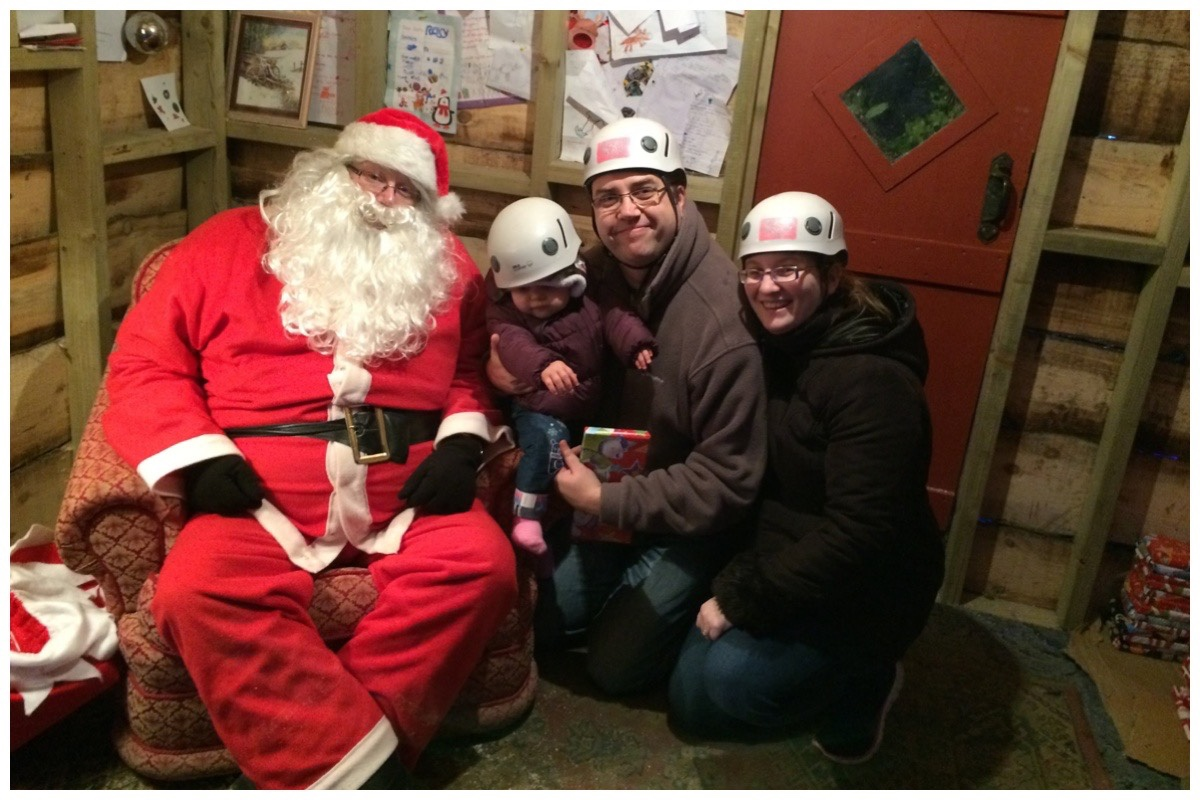 The husband, my eldest and I sat with Santa's Grotto at Llechwedd Slate Caverns