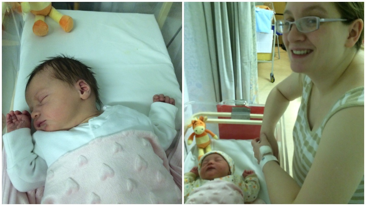 ON theleft a photo of my newborn asleep in the hospital cot / on the right a photo of me looking over her