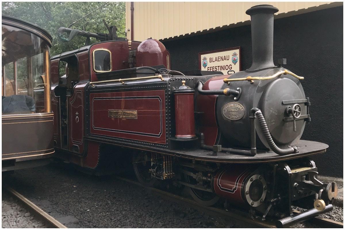 Ffestiniog Railway's Merddin Emrys steam engine at Blaenau Ffestiniog station