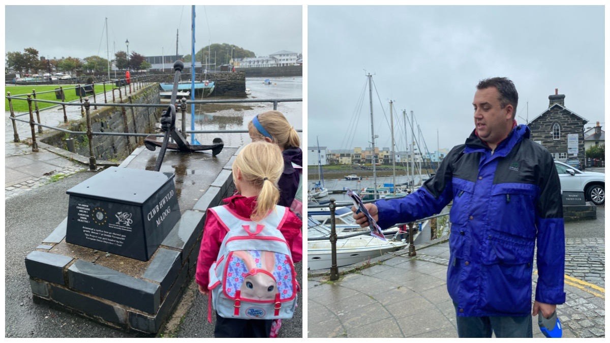 On the left - the girls looking at the Yacht Club sign / on the right - husband reading the Treasure Trails clues at the harbour