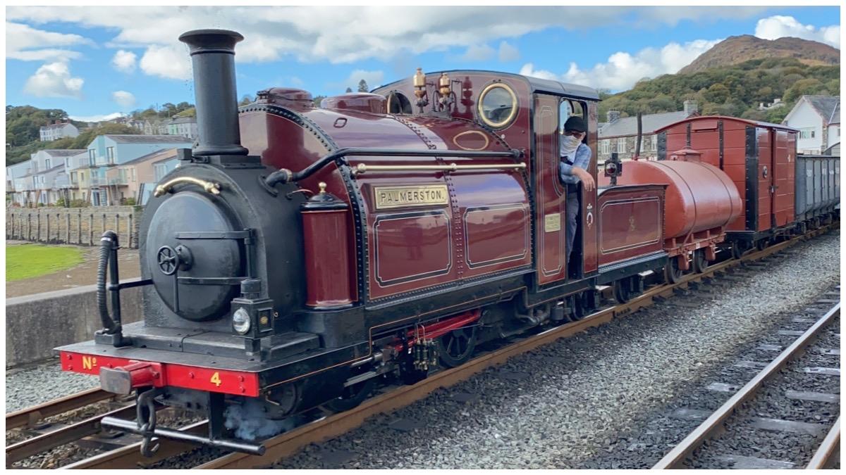 Ffestiniog & Welsh Highland Railways' Palmerston with goods train leaving Harbour Station Porthmadog