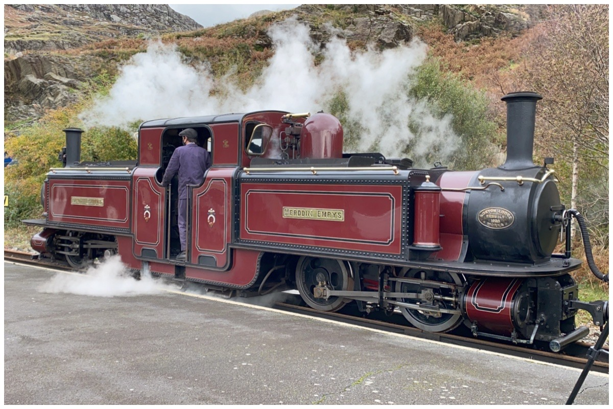 "Double Fairlie locomotive ""Merddin Emrys"" in steam at Tanygrisiau station"