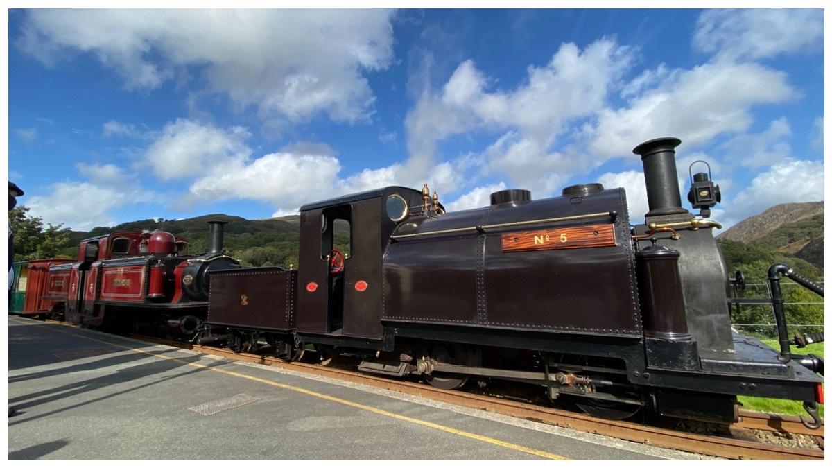 Welsh Pony and Merddin Emrys at Beddgelert Station on the Welsh Highland Railway