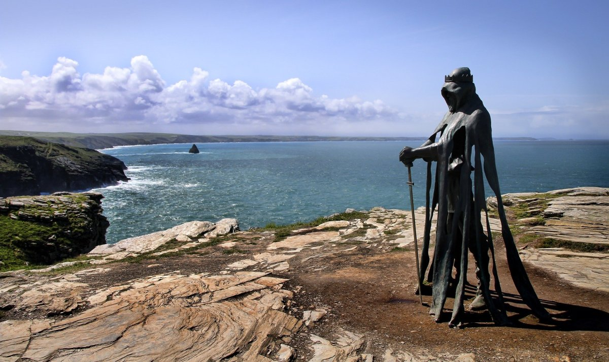 King Arthur stands watch on the Cornish Coast