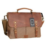 """51IxuCLFi2L - WOWBOX Messenger Satchel bag for men and women Vintage canvas real leather 14-inch Laptop Briefcase for everyday use 13""""(L)x10.5""""(H) x 4.1""""(W)"""