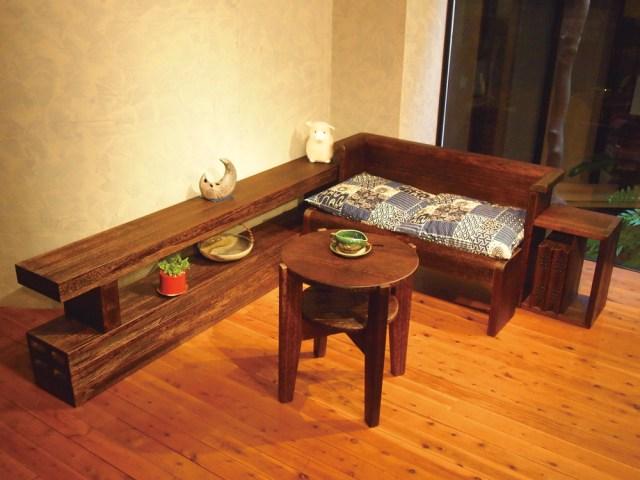 ベンチベッド ベンチと棚設置例