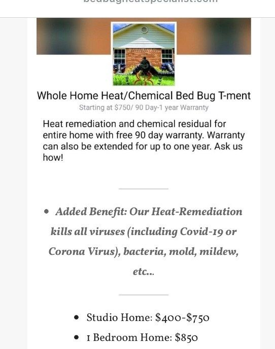 Bed bug heat treatment service prices for Dead Bug Walkin LLC
