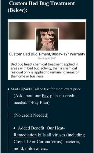 Bed bug heat treatment service price list for Dead Bug Walkin LLC.