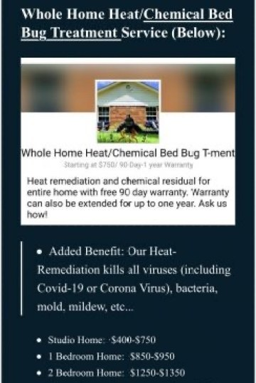 Price list for bed bug treatment services. Dead Bug Walkin LLC