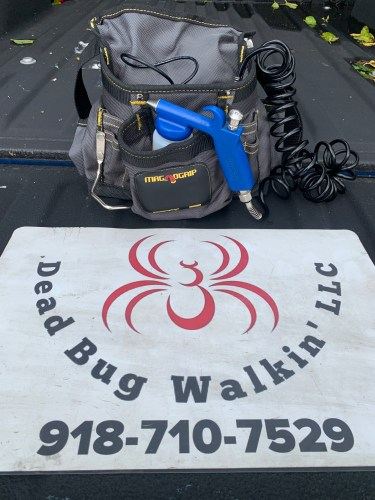Undectectable biological bed bug treatment equipment pictured. Dead Bug Walkin LLC.