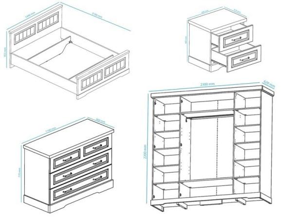 Complete slaapkamer IVANA III 140x200 cm truffel/porselein