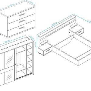 Complete slaapkamer JODY II 140x200 cm pesaro