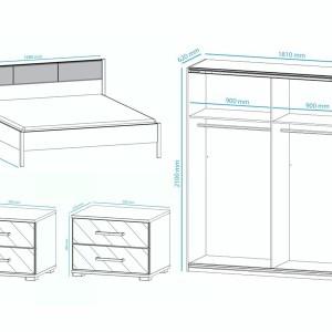 Complete slaapkamer MOJITA 160x200 cm wit