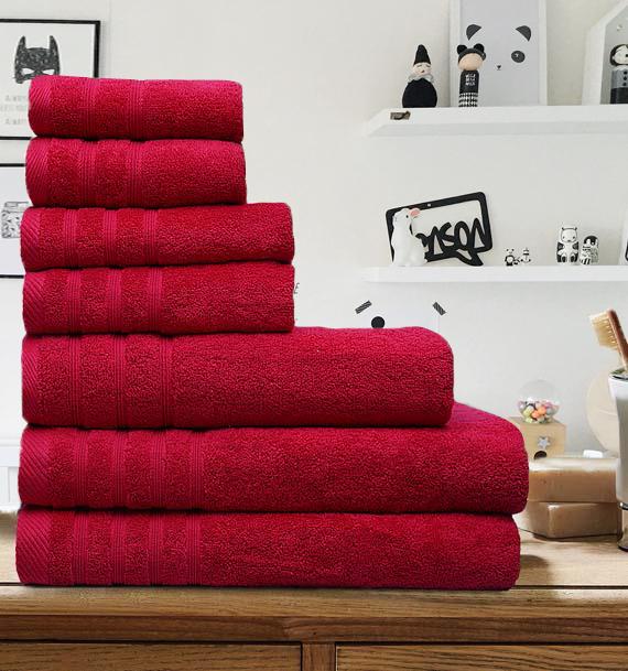 7 Pieces Egyptian Cotton Towel Set - Chilli