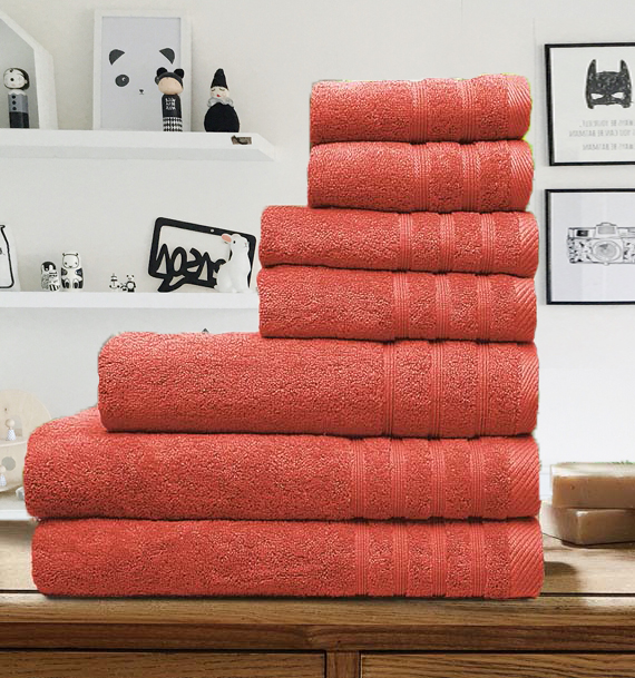 7 Pieces Egyptian Cotton Towel Set - Coral