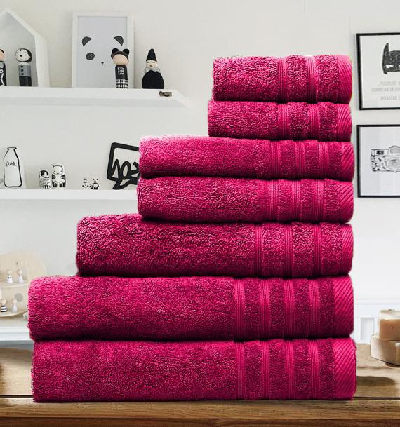 7 Pieces Egyptian Cotton Towel Set - Fuschia