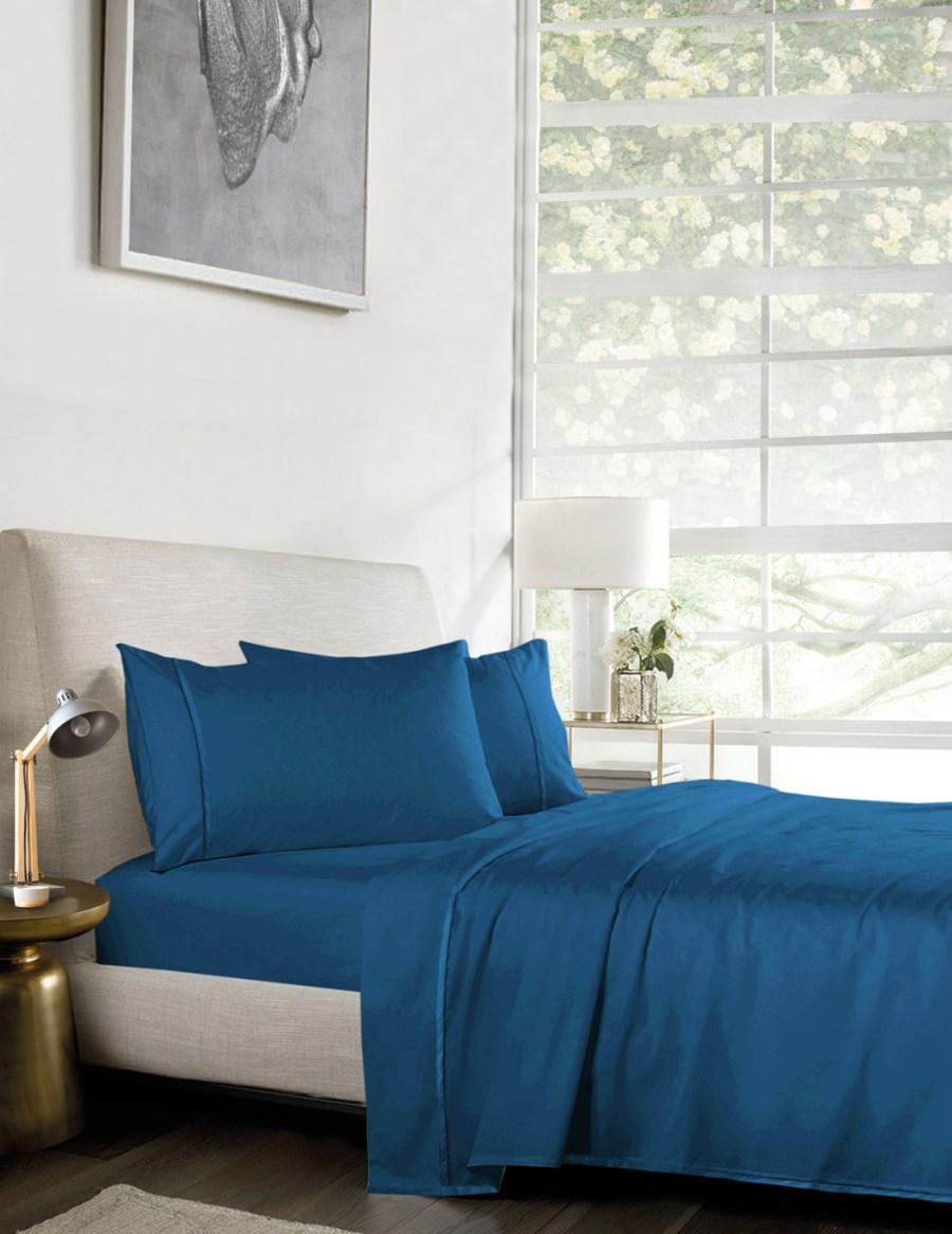 1000TC Pure Egyptian Cotton Sheet Set – Cyan Cornflower Blue