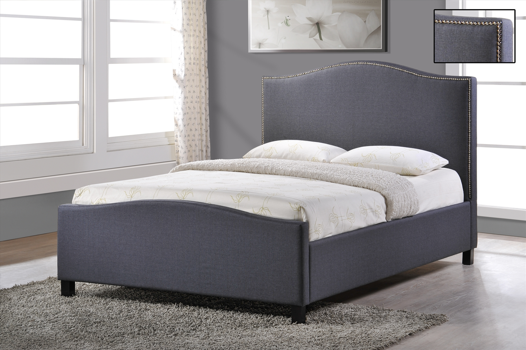 Stylish Fabric Upholstered Bed Frame Fabric Bed 4ft6