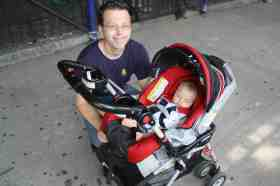 Nick Thorn and baby Matthew, outside Williamsburg Charter School. (Photo: Natalie Rinn)